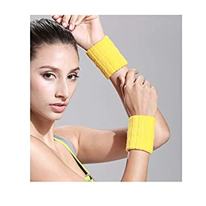 Xiaoping Wrist Sweatband Athletic Cotton Terry Cloth Wristband For Sports Handcuffs Jacket Wrist Thicken Sports Badminton Yellow Estimated Price £21.72 -