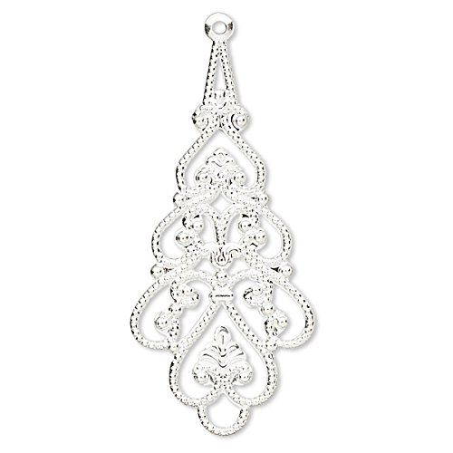 - 10 Plated Brass Metal Filigree Drop Chandelier Earring & Pendant Finding Charms (Silver Plated)