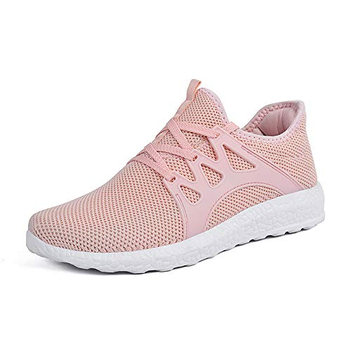 ZONKIM Womens Running Shoes Lightweight Breathable Mesh Non Slip Sneakers Athletic Gym Sports Walking Shoes Pink