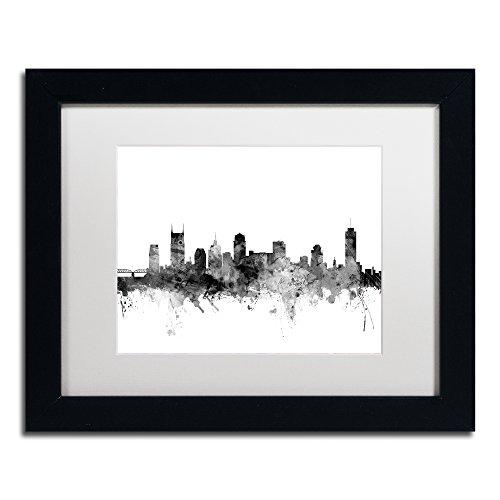 Framed Tn Nashville (Nashville TN Skyline B&W by Michael Tompsett, White Matte, Black Frame 11x14-Inch)