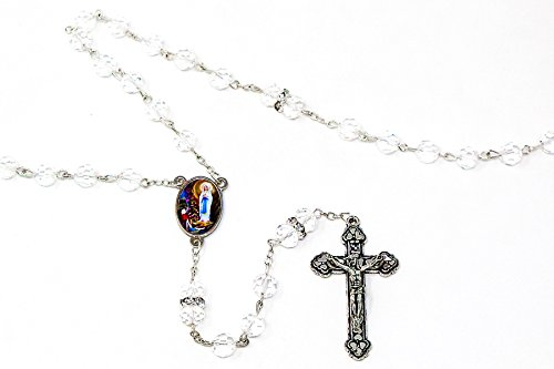 DIRECT FROM LOURDES Lourdes Rosary Beads with Swarovski Elements and Crystal Beads, Catholic Chaplets, Crystal Rosaries, Apparition Medal Centre & Lourdes Prayer Card