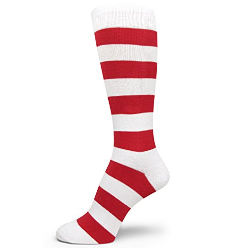 Spotlight Hosiery Two Color Striped Mens Dress Socks,Red/White