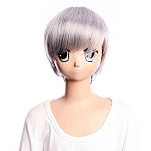 SureWells women wigs Shin Megami Tensei: Persona 4 silver white short wig cosplay wig lacefront wig for girls and boys for party