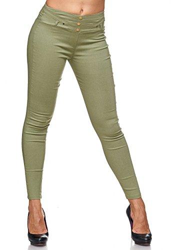Arizonashopping Pantaloni Treggings Con Da Hosen Jeans Oliva D2123 Jeggings Rivetti Donna HHwgar