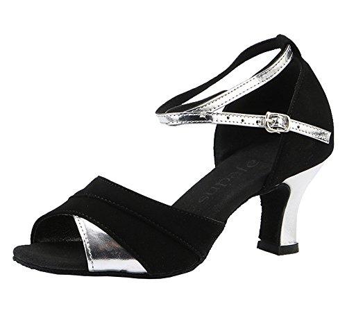 missfiona Ballroom Colorblocked Velvet Leather Latin Practice Dance Shoes For Women Black/Silver