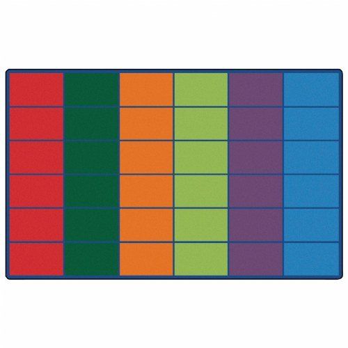 Carpets for Kids 4634 Colorful Rows Seating (36 Squares) x Rectangle x, 8'4'' x 13'4'', Multicolored by Carpets for Kids