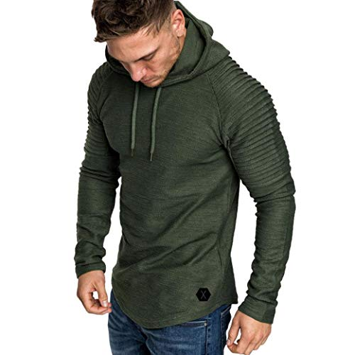 Ratoop Men's Hoodies, Solid Casual Pullover Tops High Low Sweatshirt Pleated Long Sleeve T-Shirt Hooded Blouse – DiZiSports Store
