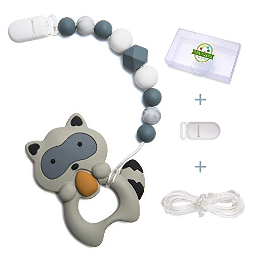 Leayjeen Teether Pacifier Clip Tooth Pain Relief Raccoon Theme Silicone Trendy Beaded Pendant Toys Holder Boy Girl Baby Mam