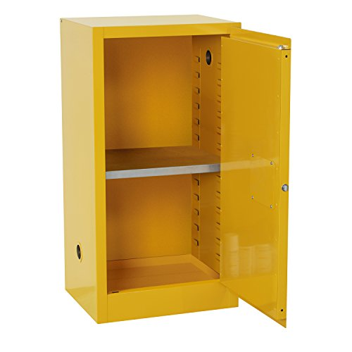 Sandusky Lee SC12F Safety Cabinet for Flammable Liquids, Single Door and Manual Close, 12 gallon, 35'Height, 23'Width, 18'Depth, Steel, Yellow