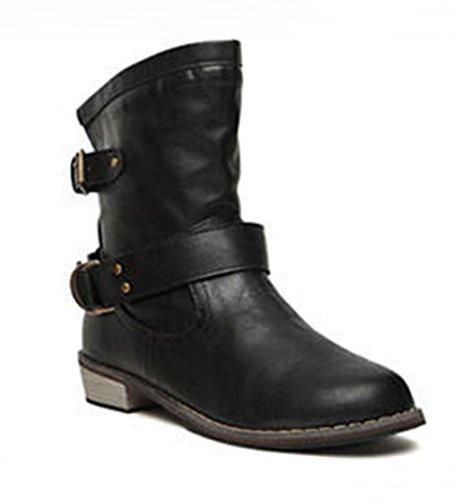 Paris Hill Woemn's Vintage Mid Calf Flat Boots Black US (Vintage Flat Boots)