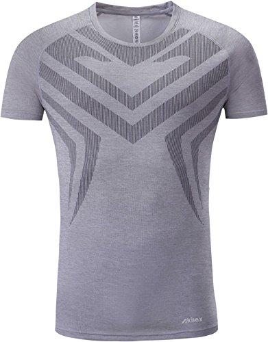 Akilex Sport Short Sleeves Fitness Clothes Running shirt for Men,Medium,Light - Clothes Running Male