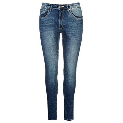 Jeans Tasche Blu Mid Firetrap Denim Pantaloni Skinny 5 Zip Uomo Nascosta Cotone 8q4xAO