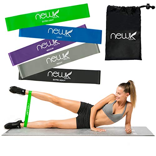 Newk Yoga Resistance Loop Exercise Bands – Set of 5, 12-inch Workout Bands for Stretching, Physical Therapy, and Strength Training