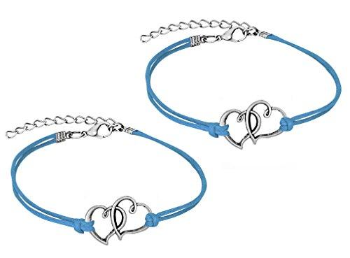 Heart Friendship Bracelet - Set of 2 Friendship Bracelets, Steel Double Hearts Bracelets with Soft Teal Blue Leatherette Cord