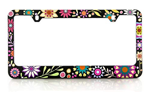 Baron Jewelry Pretty & Colorful Retro Flower License Frame. UV Printed and Extremely Durable Unique Design. Standard US & Canada Size. (Flower License Plates)
