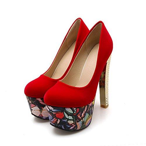 AllhqFashion Damen Rein Mattglasbirne Ziehen auf Rund Zehe Pumps Schuhe Rot