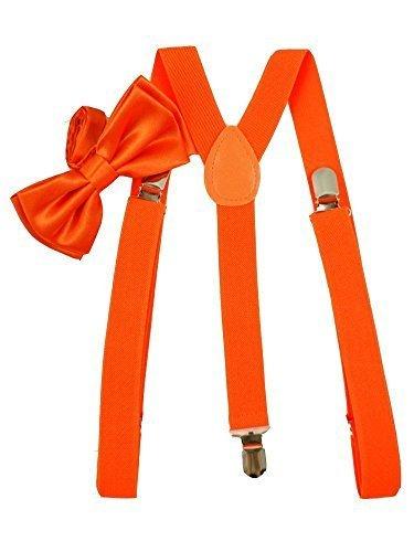 Brand New Awesome Neon Orange Bowtie & Suspender Sets