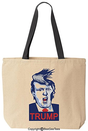 Donald Trump For President Funny Canvas Tote Bag Black Handle By Beegeetees