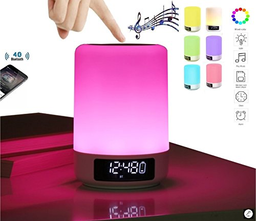 DENT Smart Bedside Table Lamp + Alarm clock + Portable Bluetooth Speakers Hands Free + Night Light + Dimmable Touch Sensor + MP3 player + LED Desk Lamp+ AUX