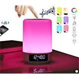 Bedside Table Lamp Alarm clock Portable Bluetooth Speakers Hands Free Night Light Dimmable Touch Sensor MP3 player LED Desk Lamp Bedside Table Lamp Color Changing Lamp DENT Products [Upgraded Version]
