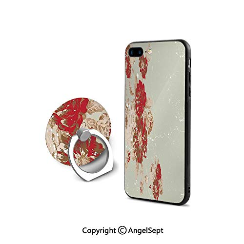 - Protective Case for iPhone 8/iPhone 7 with Ring Holder Kickstand,Vintage Style Rose Print on a Marble Pattern Floral Antique Design Garden Decor,for Girls,Beige Cream Red
