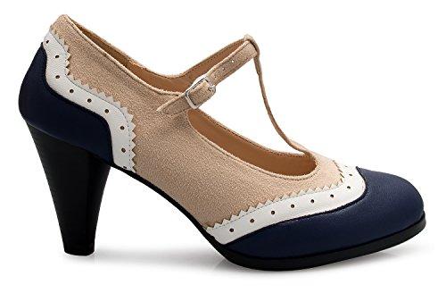 Beige Color Retro K Heels Pumps Womens Toe Jane Vintage Navy Two Low OLIVIA Mary Shoe Round xB186v6q