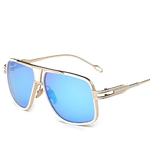 AOME Square Aviator Sunglasses Metal Frame Goggle Brand Designer (Gold&Blue, - Brand Eyewear X