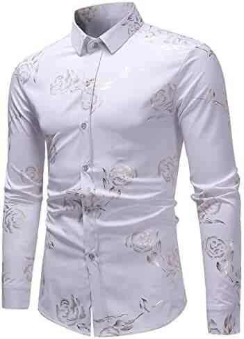 f5d20d003 HOP Men's Casual Irregular Hem Slim Fit Button Down Dress Shirt