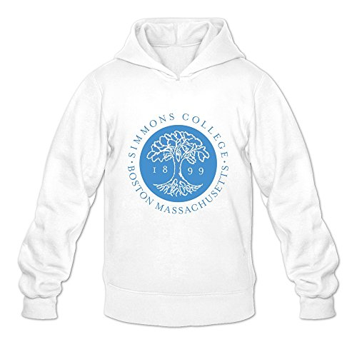 Tavil Simmons College Casual Hoodies For Mens White Size Medium