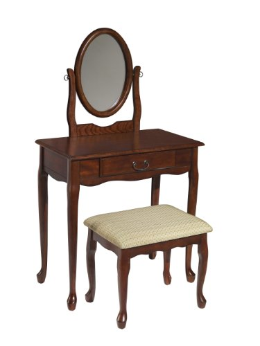 Powell Storage Bench - Powell Company Woodland Cherry Vanity Mirror and Bench