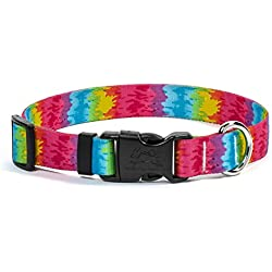 """Yellow Dog Design Tie Dye Dog Collar with Tag-A-Long ID Tag System-Small-3/4 Wide and fits Neck 10 to 14"""""""