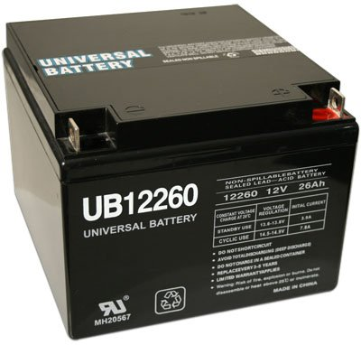 12 Volt 26 Amp Hour UB12260 Sealed Lead Acid Battery Replacement with T3 Terminals by UPG D5747