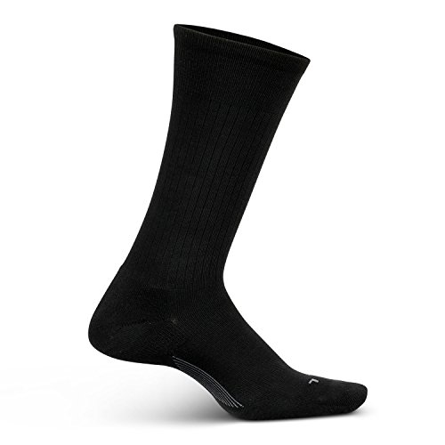 Feetures Men's Everyday Performance Dress Sock - Classic Rib Cushion Crew - Black - Size Large (Sock Rib Dress Classic)
