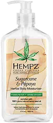 Hempz Herbal Body Moisturizer, Sugarcane & Papaya, 17 Ounce