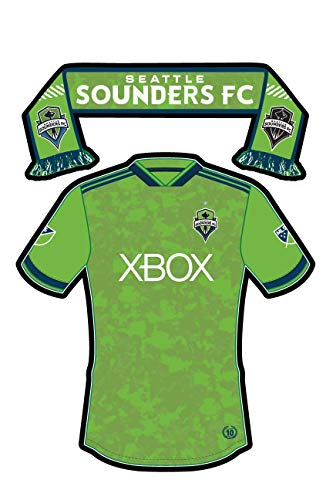 Seattle Sounders Sticker - Team Jersey & Scarf - Vinyl, Die-cut, 3.5 inch, decal & gift. Use on Water Bottles, Laptops, Coolers, Car and Truck Bumper. All-Weather Waterproof. Major League -
