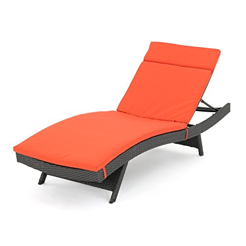 Soleil Outdoor Water Resistant Chaise Lounge Cushion (Orange)
