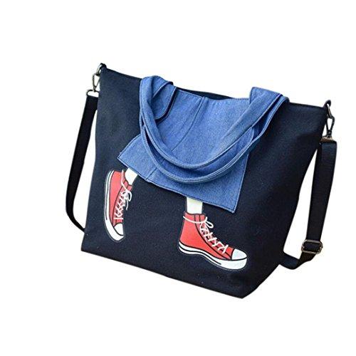 Zarupeng Frauen Segeltuch Schuh Drucken Handtaschen Schultaschen Kurier Umhängetasche Schwarz NakRLZR