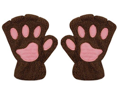 Women Girl Fingless Gloves Cute Plush Bear Claw Cat Paw Soft Winter Warm Mittens ()