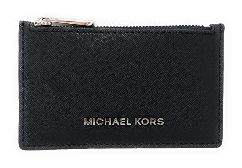 Michael Kors Jet Set Travel Slim Leather Zip Card Case Wallet (Black) (Card Case Coin Purse)