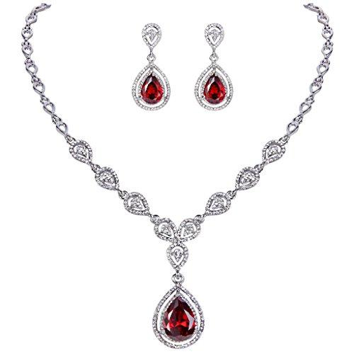 (EVER FAITH Austrian Crystal Zircon Wedding Teardrop Necklace Earrings Set Ruby Color Silver-Tone)