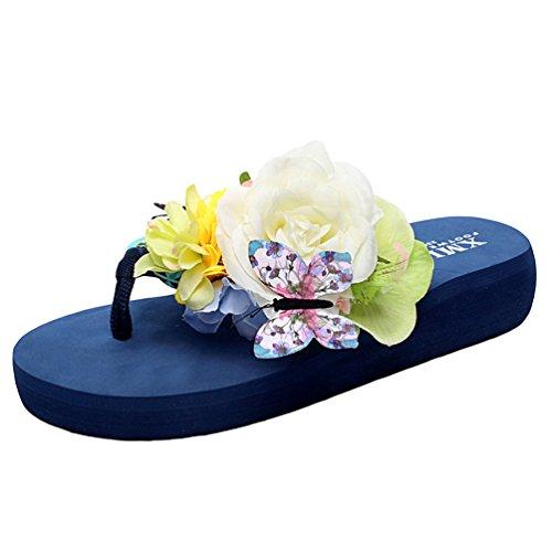 YOUJIA Damen Boho Blumen Zehentrenner Sommer Strandschuhe Keilschuhe Plateau Slipper #1 Blau Baumblatt