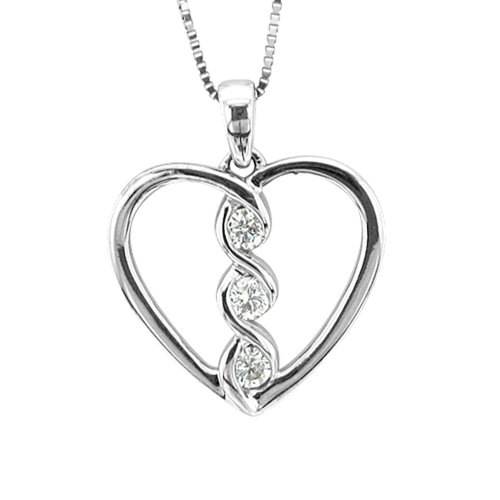 14k White Gold Heart 3 Stone Diamond Pendant Necklace (0.14 Carat) - IGI Certified