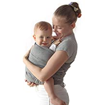 Baby Wrap Carrier Upsimples Breathable Baby Sling Wrap- Stretchy Ring Sling Baby Carrier for Infants, Newborn, and Toddlers with Carrying Pouch(Grey)