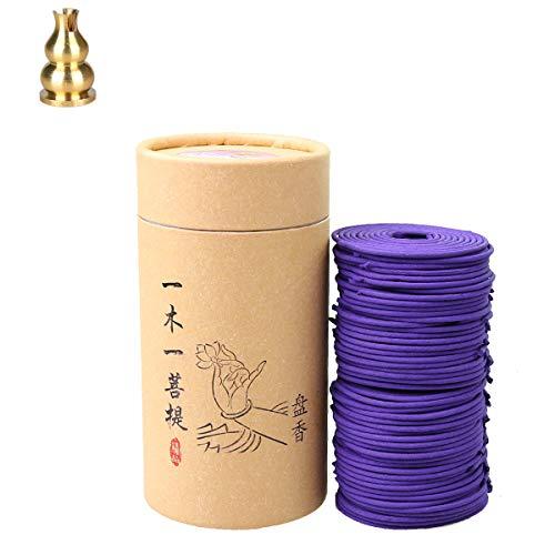 qiaoya Indoor Incense Coils Fragrans, Rose, Jasmine, Sandalwood, Lavender - Each 256g 96pcs 3.5Hr with Copper Incense Clip (Lavender)