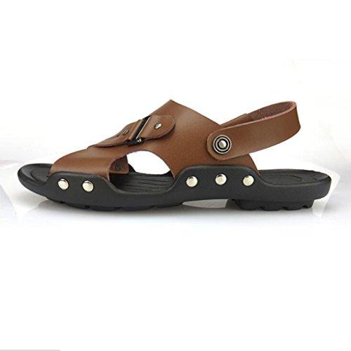 Scarpe Traspiranti alla Sandali da Brown Pantofole Scarpe da Pelle Scarpe estive in Moda Spiaggia Uomo Casual w1dBxqfd