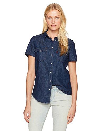 Larissa Dress - Levi's Women's Larissa Short Sleeve Western Shirt, Super Dark Authentic Small