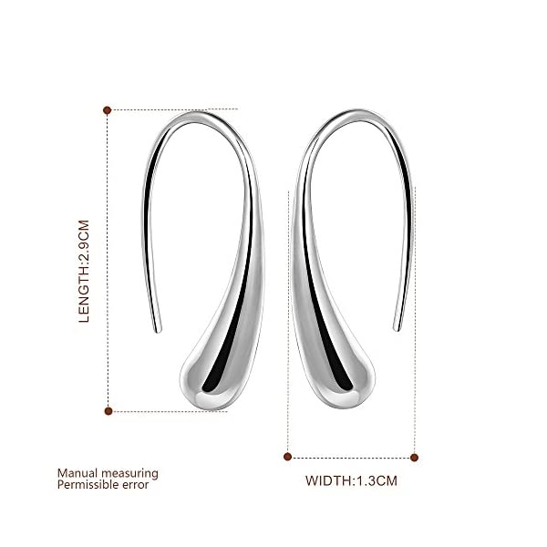 NA BEAUTY Fashion Classic Sterling Silver Thread Drop Earrings,Teardrop Back Earrings (White/1 Pair)