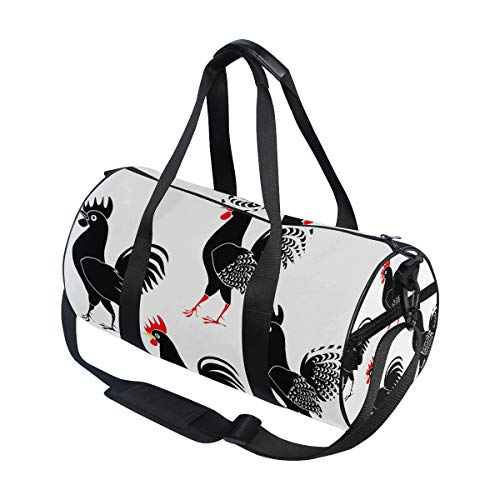 (Emoya Set of Black Roosters On White Background Gym Bag Sports Duffel for Men and Women)