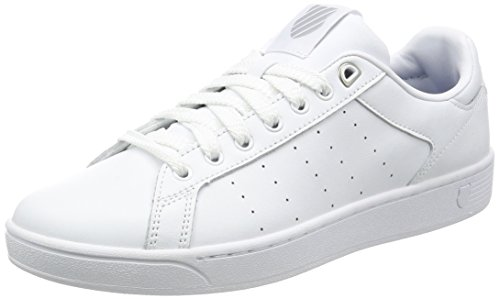 K-Swiss Men's Clean Court Fashion Sneaker, White/Gull Gray, 12 M US