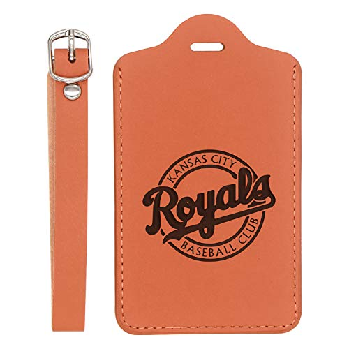 (Mlb Kansas City Royals 2 Engraved Synthetic Leather Luggage Tag (London Tan - Set Of 2) - United States Standard - Handcrafted By Mastercraftsmen - For Any Type Of Luggage)